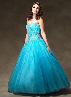 Ball-Gown Strapless Floor-Length Tulle Quinceanera Dress With Ruffle Beading (02105024389)