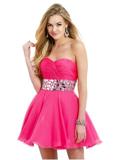 A-Line/Princess Strapless Sweetheart Short/Mini Chiffon Homecoming Dress With Ruffle Beading