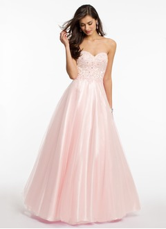 A-Line/Princess Strapless Sweetheart Floor-Length Tulle Prom Dress With Lace Beading