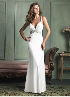 Sheath/Column V-neck Sweep Train Jersey Wedding Dress With Ruffle Beading