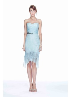 Sheath/Column Strapless Sweetheart Asymmetrical Lace Homecoming Dress With Sash Appliques Lace