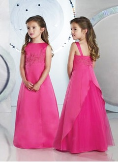 A-Line/Princess Scoop Neck Floor-Length Satin Tulle Flower Girl Dress With Embroidered