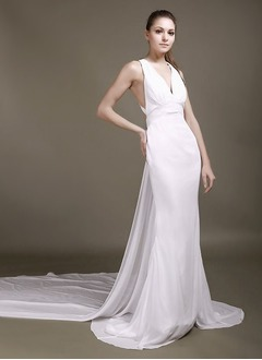 Sheath/Column V-neck Watteau Train Chiffon Wedding Dress With Flower(s)