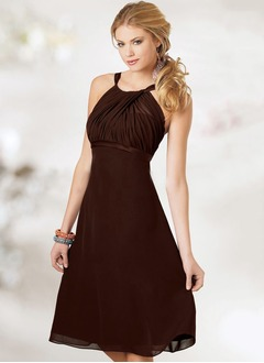 Empire Scoop Neck Knee-Length Chiffon Evening Dress With Ruffle Bow(s)