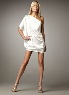 Sheath/Column One-Shoulder Short/Mini Satin Chiffon Cocktail Dress With Ruffle Beading