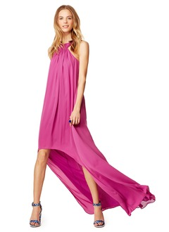 A-Line/Princess Halter Asymmetrical Chiffon Evening Dress With Ruffle