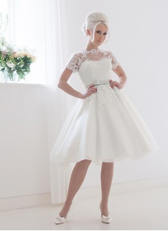 A-Line/Princess Scoop Neck Knee-Length Tulle Wedding Dress With Lace Sash Bow(s)
