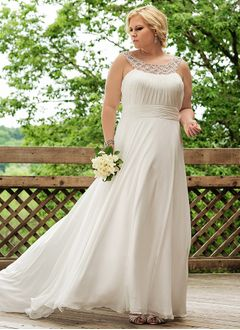 A-Line/Princess Scoop Neck Sweep Train Chiffon Wedding Dress With Ruffle Beading