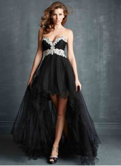 A-Line/Princess Strapless Sweetheart Asymmetrical Tulle Prom Dress With Appliques Lace