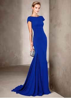 Trumpet/Mermaid Scoop Neck Sweep Train Charmeuse Evening Dress With Ruffle (0175119946)