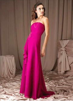 A-Line/Princess Strapless Sweep Train Chiffon Bridesmaid Dress With Lace Beading Cascading Ruffles