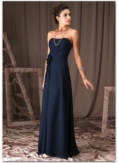 A-Line/Princess Strapless Sweetheart Floor-Length Chiffon Bridesmaid Dress With Ruffle Flower(s)