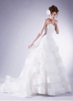 Ball-Gown Sweetheart Chapel Train Organza Wedding Dress With Ruffle Bow(s)