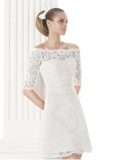A-Line/Princess Off-the-Shoulder Knee-Length Lace Wedding Dress