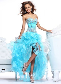 Trumpet/Mermaid Strapless Sweetheart Asymmetrical Organza Prom Dress With Beading Cascading Ruffles