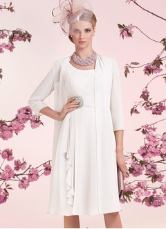 A-Line/Princess Scoop Neck Knee-Length Chiffon Mother of the Bride Dress With Ruffle Beading Cascading Ruffles