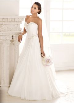 A-Line/Princess Strapless Sweetheart Court Train Chiffon Wedding Dress With Beading