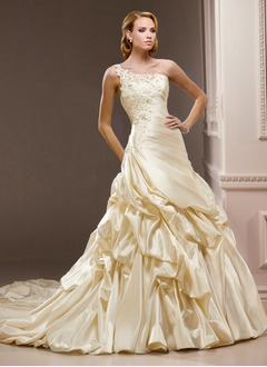A-Line/Princess One-Shoulder Chapel Train Charmeuse Wedding Dress With Ruffle Beading Appliques Lace Flower(s)