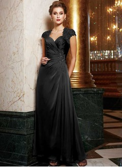 Sheath/Column Sweetheart Floor-Length Satin Mother of the Bride Dress With Ruffle Lace Beading Appliques Lace