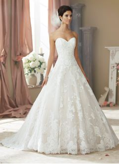 Ball-Gown Strapless Sweetheart Court Train Tulle Lace Wedding  ...