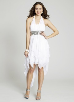 A-Line/Princess Halter Asymmetrical Chiffon Prom Dress With Ruffle Beading Sequins Bow(s) Cascading Ruffles