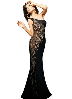 Sheath/Column One-Shoulder Floor-Length Chiffon Tulle Evening Dress With Ruffle Beading