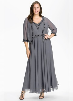 A-Line/Princess V-neck Ankle-Length Chiffon Mother of the Bride Dress With Ruffle Beading Appliques Lace