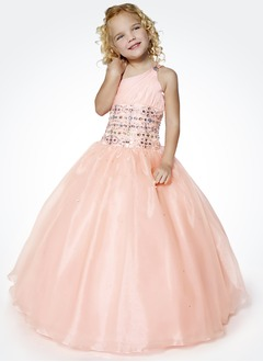 A-Line/Princess One-Shoulder Floor-Length Organza Satin Flower Girl Dress With Ruffle Beading