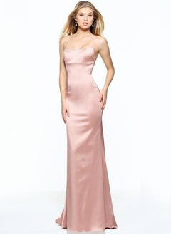 Sheath/Column Strapless Floor-Length Charmeuse Evening Dress