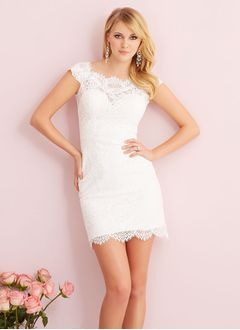 Sheath/Column Square Neckline Short/Mini Lace Wedding Dress With Sash