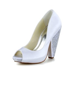 Women's Satin Chunky Heel Peep Toe Platform Pumps With  ...