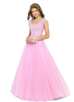 Ball-Gown V-neck Floor-Length Organza Prom Dress With Beading Appliques Lace