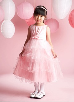 A-Line/Princess Scoop Neck Tea-Length Satin Tulle Flower Girl Dress With Ruffle