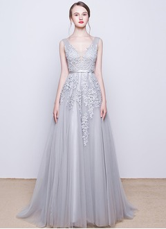 A-Line/Princess V-neck Sweep Train Tulle Evening Dress With Beading Appliques Lace