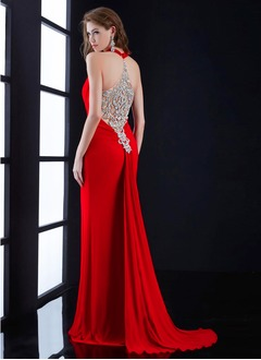 Sheath/Column Sweetheart Halter Watteau Train Chiffon Evening Dress With Ruffle Beading
