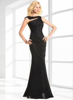Trumpet/Mermaid Cowl Neck Floor-Length Chiffon Evening Dress With Ruffle Appliques Lace