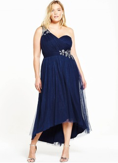 A-Line/Princess One-Shoulder Asymmetrical Tulle Bridesmaid Dress With Beading