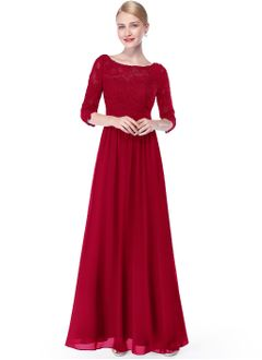 A-Line/Princess Scoop Neck Floor-Length Chiffon Evening Dress With Lace