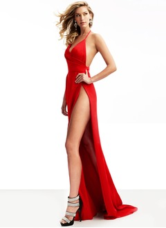 Sheath/Column Halter V-neck Sweep Train Satin Prom Dress With Ruffle Split Front