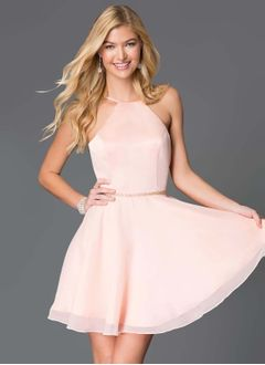 A-Line/Princess Scoop Neck Short/Mini Chiffon Satin Prom Dress With Beading