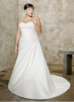 A-Line/Princess Strapless Sweetheart Chapel Train Satin Wedding Dress With Ruffle Beading