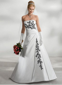 A-Line/Princess Strapless Court Train Satin Wedding Dress With Ruffle Beading Appliques Lace Sequins
