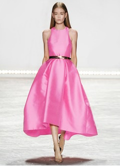 A-Line/Princess Scoop Neck Tea-Length Charmeuse Cocktail Dress With Ruffle