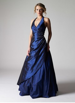 Ball-Gown Halter Floor-Length Taffeta Prom Dress With Ruffle Beading