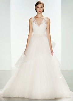 Ball-Gown V-neck Court Train Organza Wedding Dress With Cascading Ruffles