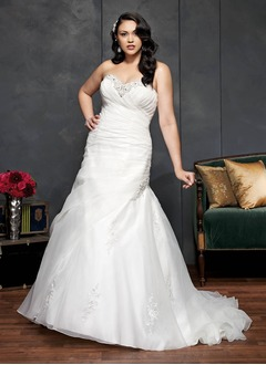 Trompet/Zeemeermin Strapless Sweetheart Kapel sleep Organza Bruidsjurk met Roes Kralen Applicaties Kant