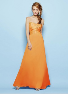 A-Line/Princess Strapless Sweetheart Floor-Length Chiffon Bridesmaid Dress With Lace