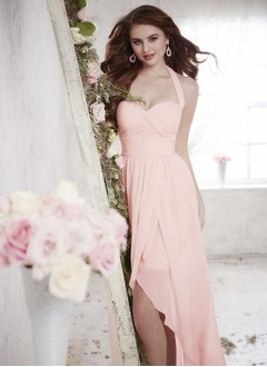 A-Line/Princess Halter Asymmetrical Chiffon Bridesmaid Dress With Ruffle Split Front