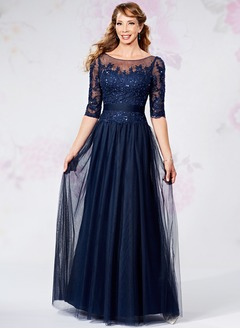 A-Line/Princess Scoop Neck Floor-Length Tulle Mother of the Bride Dress With Appliques Lace Sequins (0085119752)