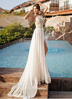 A-Line/Princess Halter Sweep Train Chiffon Wedding Dress With Appliques Lace Split Front